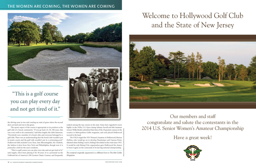 Spread in the 2014 USGA Senior Women's Amateur Championship program.